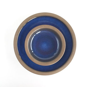 Vintage Heath Ceramics Rim Line Blue Moonstone Plates Set of 2