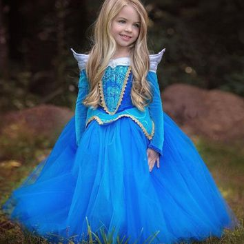 SAMGAMI BABY Fairy Princess Sleeping Beauty Aurora Ball Gown Girls Cosplay Costume Kids Party Wear Tulle Dress Christmas Gift