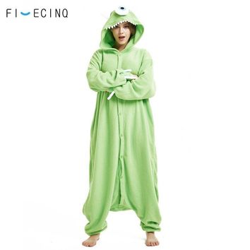 Cool Mike Wazowski Kigurumi Anime Character Monster One Eye Cosplay Costume Onesuit Pajama Adult Men Women Couple Fancy SleepwearAT_93_12
