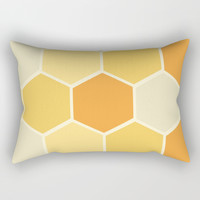 Yellow Honeycomb Rectangular Pillow by spaceandlines