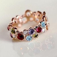 Colorful Rainbow Crystal Fashion Knuckle Ring | LilyFair Jewelry