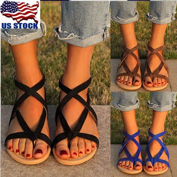 USA Women Gladiator Sandals Shoes Thong Flip Flops Flat T Strap Size Strappy Toe