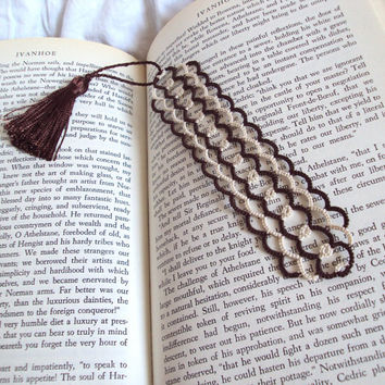Neo Victorian Lace Bookmark in Tatting , Brown , Ecru - Limited Edition 2 of 2 - Lexia