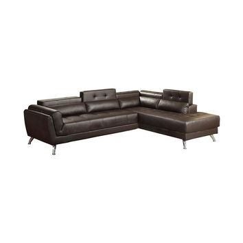Bonded Leather 2 Piece Sectional In Espresso Brown