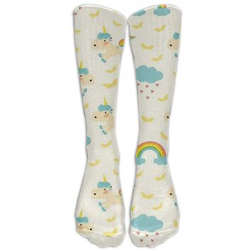 Clouds & Rainbows Unicorn Novelty Cotton Knee High All-Over Printed Socks