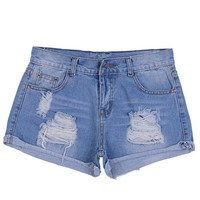 Women's Washed Distressed Low Waist Fitted Casual Summer Denim Shorts Blue