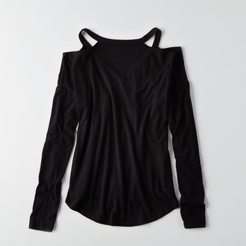 AEO Soft & Sexy Plush Cold Shoulder T-Shirt , True Black