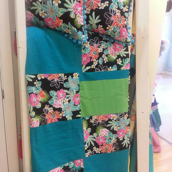 Picnic Blanket Beautiful Handmade Teal and Floral Hawaiian