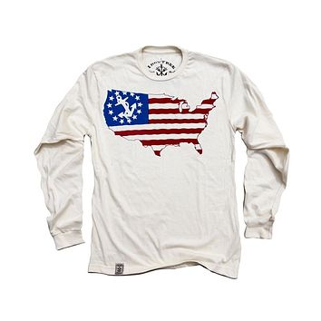 USA Silhouette Yacht Ensign: Organic Fine Jersey Long Sleeve T-Shirt in Unbleached Natural