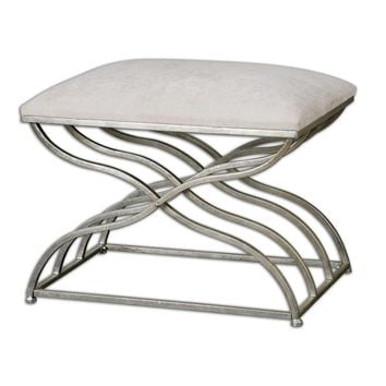 Shea Satin Nickel Small Bench By Uttermost