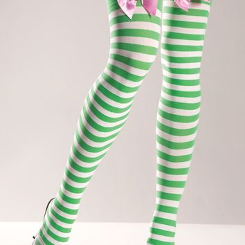 Be Wicked Green and White Thigh Highs