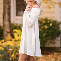 Fall Forward Long Sleeve Fold Over Off Shoulder Dress (Ivory)