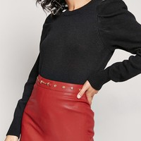 Studded Faux Leather Skirt