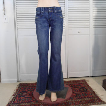 70s Hippie Bell Bottom Blue Jeans Upcycle Bell Bottom Jeans Redesigned Denim Size 9 Hippie Jean Refashioned Festival Blue Boho Style Clothes