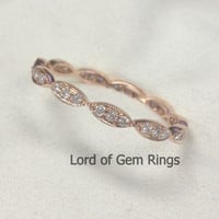Pave Diamond Wedding Band  Eternity Anniversary Ring 14K Rose Gold SI/H Diamonds Art Deco Antique