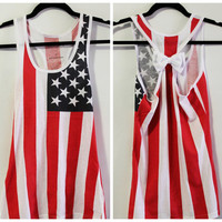 American Flag Bow Tank Top, Bow Tank Top, American Flag Tank, Fourth of July Tank, Country Concert Tank