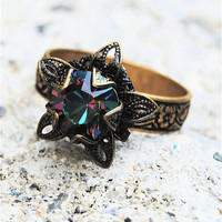 Rainbow Ring  Swarovski Crystal Ring  Stargazer by MASHUGANA
