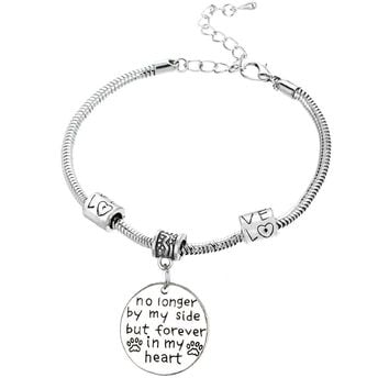 Dog memorial charm bracelet | No longer by my side but forever in my heart | pet loss quote fashion jewelry