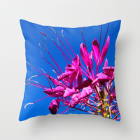 Pink Bee Balm  pillow home decor cushion fine art photography living room bedroom furnishing flower macro blue sky nature summer nature