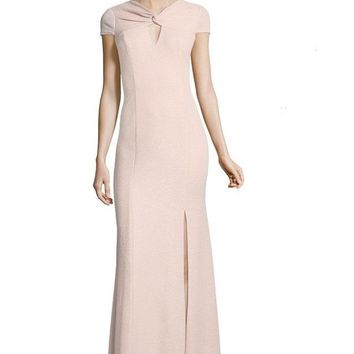 Adrianna Papell Crossed Front Keyhole Front Cap Sleeve Dress