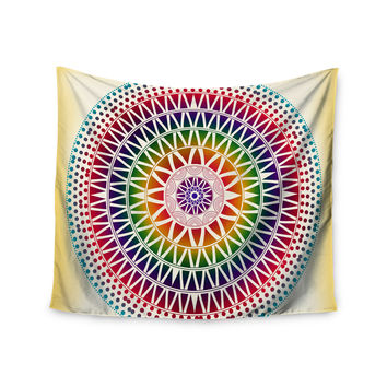 "Famenxt ""Colorful Vibrant Mandala"" Rainbow Geometric Wall Tapestry"
