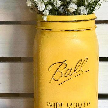 Spring decorations/ Table decorations/ Beach Wedding decor/ Yellow Mason Jar/ Grey and Yellow Wedding/ yellow/ gray/ Rustic Mason Jar