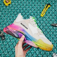 Balenciaga Triple S Clear Sole Trainers White/rainbow Sneakers - Best Online Sale