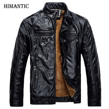 Men Leather Jackets Pu Leather coat Men Winter Leather Jacket