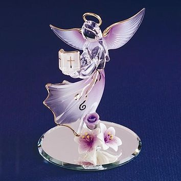Glass Baron Lavender Angel With Bible Glass Figurine