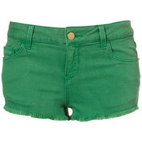 Meadow Green Denim Hotpants - Topshop USA