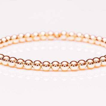 14k Rose Gold Ball Bead Stretch Bracelets, 3mm - 6mm. Men and Women's Bracelet