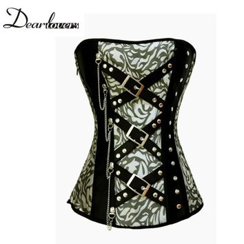 Hot sale corsets Classic Jacquard gothic style overbust corset with Rivets and Chain corselet top LC5278