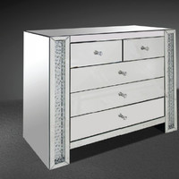 Modrest Glimmer Transitonal Mirrored Dresser with Artificial Crystals VGMCGD1172