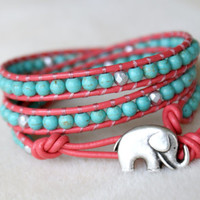 Blue Turquoise Coral bohemian beaded leather wrap, Good Luck charm, silver elephant, beach jewelry, trendy, boho chic