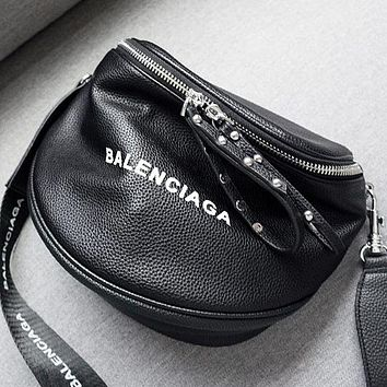 BALENCIAGA Newest Fashionable Women Leather Rivets Shoulder Bag Crossbody Satchel Black