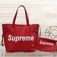 LV x Supreme Shopping Bag Leather Tote Handbag Shoulder Bag