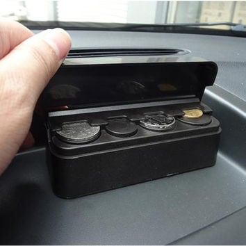Solid 1PC Car Coin Case Loose change Storage Box Money Wallet Piggy Bank Holder Organizer