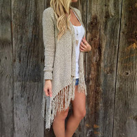 Solid color long - sleeved cardigan tassel knitted jacket