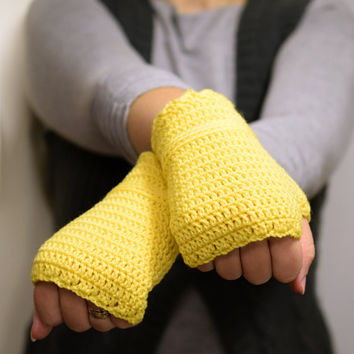Yellow wristwarmers, supersoft merino wool armwarmers, crocheted fingerless gloves, office gloves, choose your color