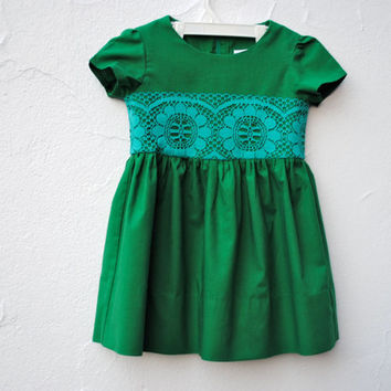 The Katie Dress - Emerald Green Retro Party Dress with Vintage Teal Lace - Modern Kids Fall Winter Fashion