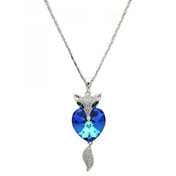 Rhodium Layered 04.239.0058.16 Fancy Necklace, Heart Design, with Bermuda Blue Swarovski Crystals and White Micro Pave, Polished Finish, Rhodium Tone