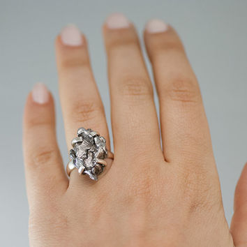 OOAK - Meteorite Ring - Cocktail Ring - Statement Ring - Campo de Cielo ring - Sterling Silver Ring - Size 9 Ring