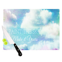 "Alison Coxon ""Paint the Sky!"" Blue White Cutting Board"