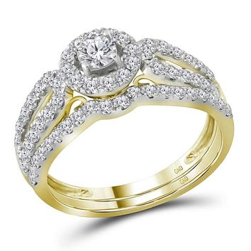 14kt Yellow Gold Women's Round Diamond Halo Split-shank Bridal Wedding Engagement Ring Band Set 1.00 Cttw - FREE Shipping (US/CAN) (Certified)