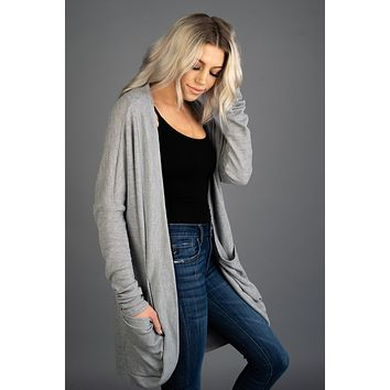 Spring Fever Solid Knit Cardigan in GREY