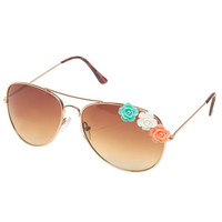 Flower Embellishment Aviator Sunglasses | Wet Seal