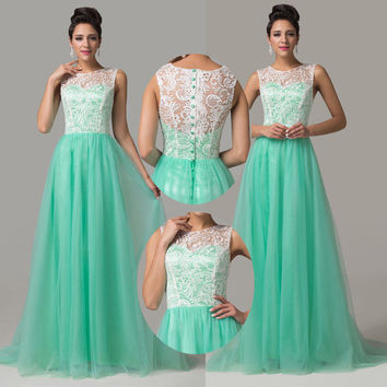 Elegant Long Mint Green Lace Prom Dresses Party Evening Gown Dress 2016 Tulle Custom Made