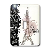 3dRose lsp_162268_1  Paris Eiffel Tower with Heart and Black Lace Single Toggle Switch