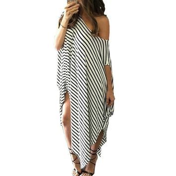 Long Maxi Loose Dress Women Summer Dress Striped Batwing Sleeve Off shoulder Split Casual Beach Wear Plus Size Vestidos