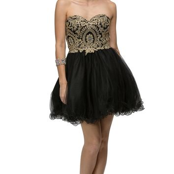 Dancing Queen - 9100 Strapless Embroidered Corset Short Prom Dress